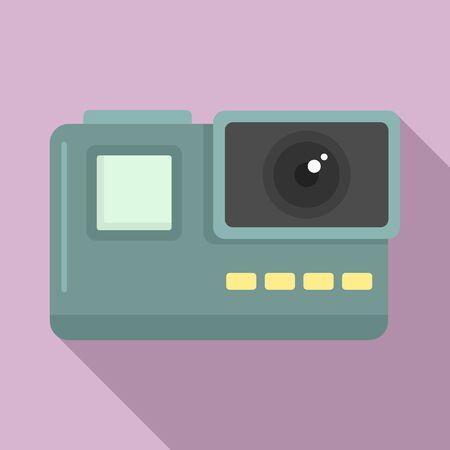Extreme action camera icon, flat style