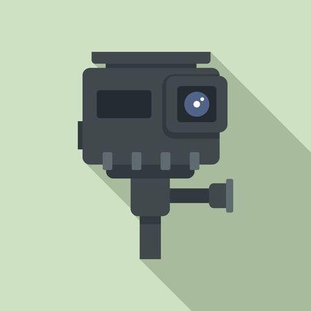 Hd action camera icon, flat style Иллюстрация