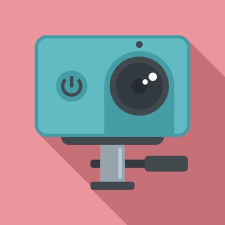 Dynamic action camera icon, flat style Иллюстрация