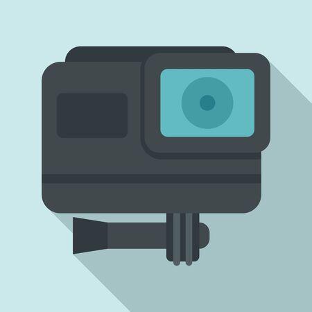 Cinema action camera icon, flat style Иллюстрация