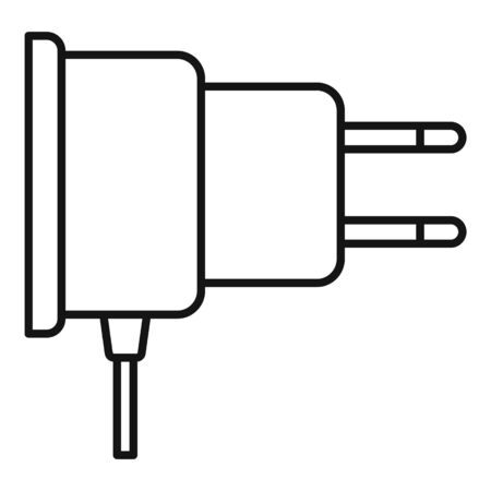 Mobile phone plug icon, outline style Çizim