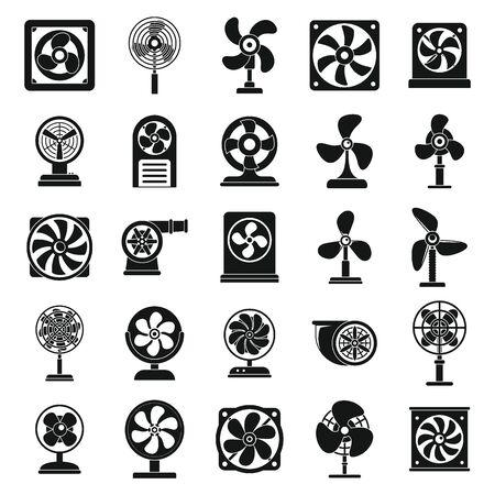 Ventilator propeller icons set, simple style Иллюстрация