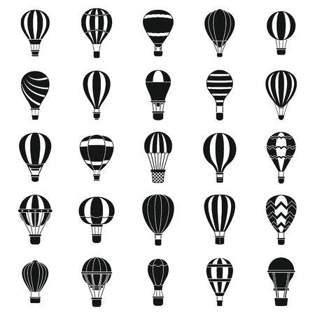 Hot air balloon icons set, simple style Иллюстрация