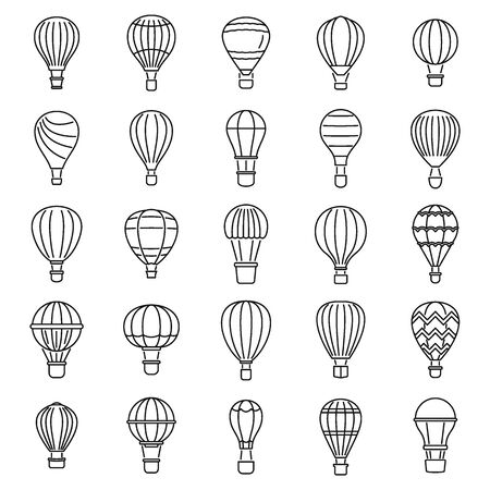 Sky air balloon icons set, outline style Иллюстрация