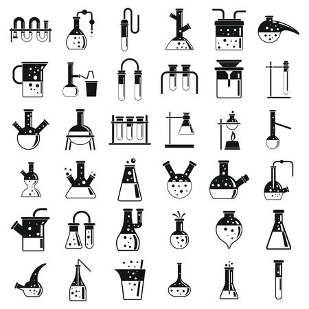 Modern chemical laboratory experiment icons set, simple style