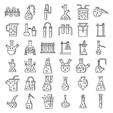 School chemical laboratory experiment icons set, outline style