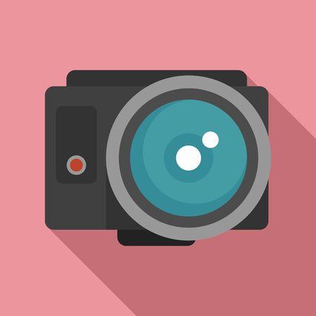 Fish eye action camera icon, flat style