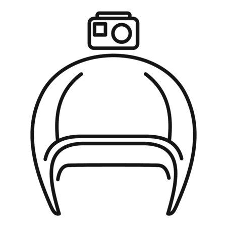 Action camera helmet icon, outline style Illusztráció