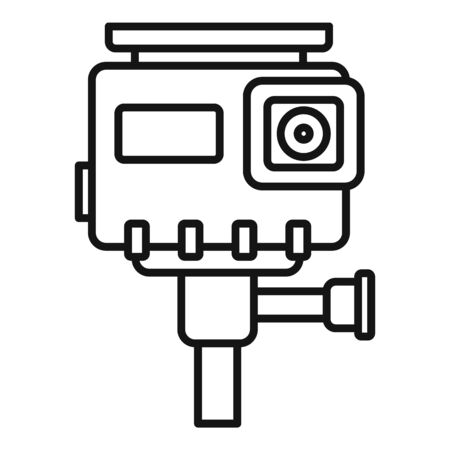 Hd action camera icon, outline style Иллюстрация