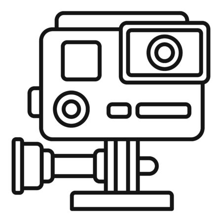 Hand action camera icon, outline style