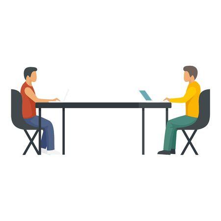 Company teamwork icon, flat style Ilustração