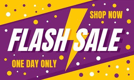 Flash sale shop now concept banner. Flat illustration of flash sale shop now vector concept banner for web design Иллюстрация