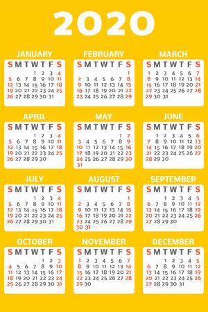 Yellow office 2020 calendar concept banner, flat style