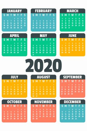 Colorful 2020 year calendar concept banner, flat style