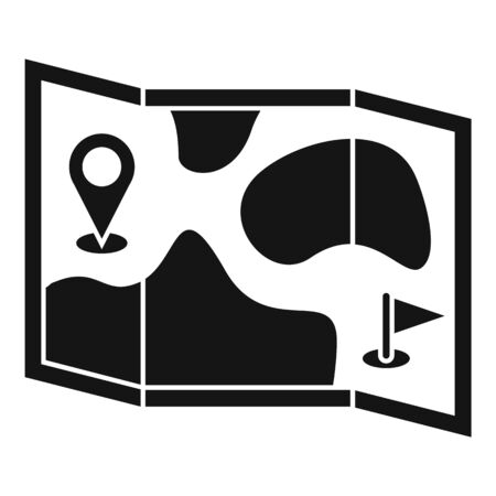 Golf field map icon, simple style Imagens