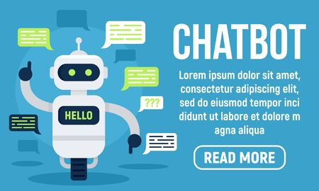 Hello chatbot concept banner, flat style