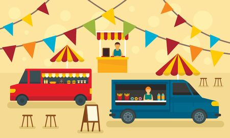 Food festival concept banner, flat style