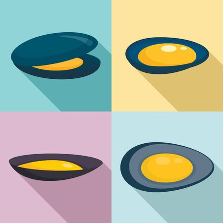 Mussels icons set, flat style 写真素材