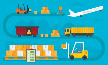 World goods export concept banner, flat style