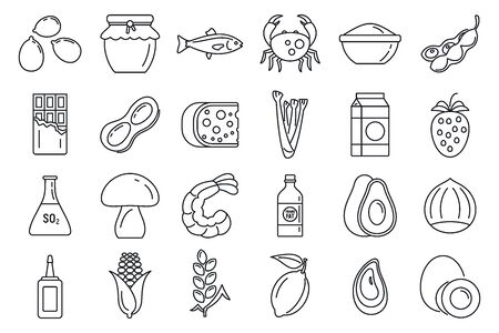 Bio product allergy icons set, outline style