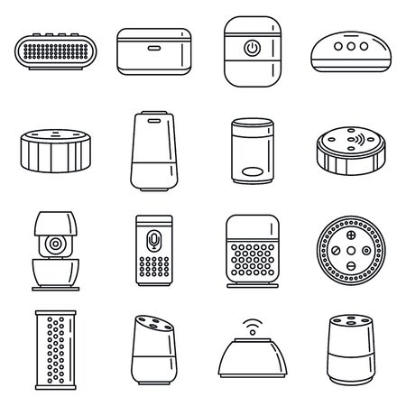 Home smart speaker icons set, outline style