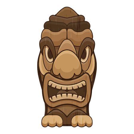 Tropical tiki idol icon, cartoon style