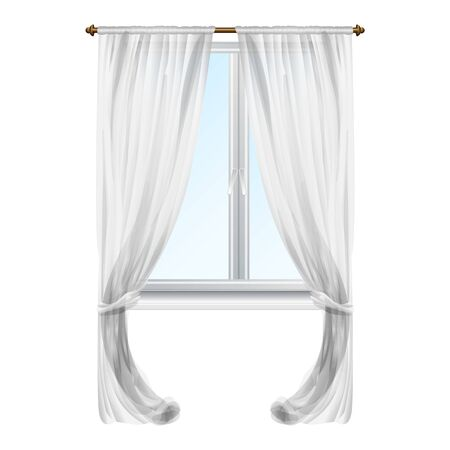 Grey window curtain icon. Cartoon of grey window curtain vector icon for web design isolated on white background