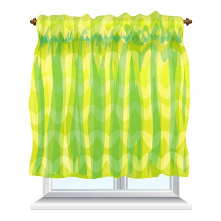 Kitchen green curtain icon. Cartoon of kitchen green curtain vector icon for web design isolated on white background 일러스트