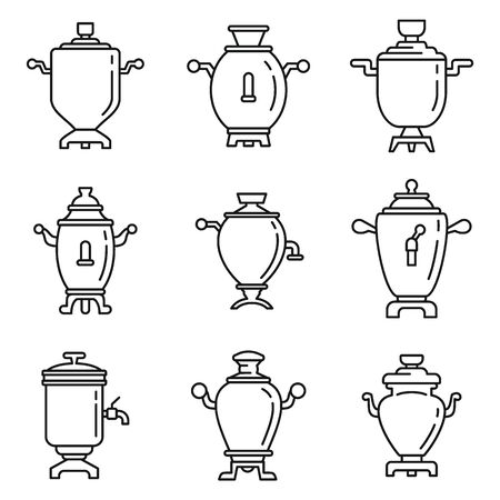 Russian samovar icons set. Outline set of russian samovar vector icons for web design isolated on white background