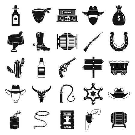 Western cowboy icons set. Simple set of western cowboy vector icons for web design on white background Stock Illustratie