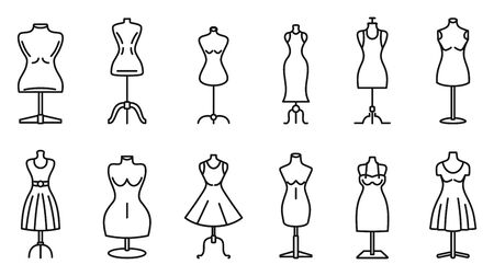 Mannequin atelier icons set, outline style