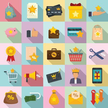 Loyalty program icons set, flat style Vetores