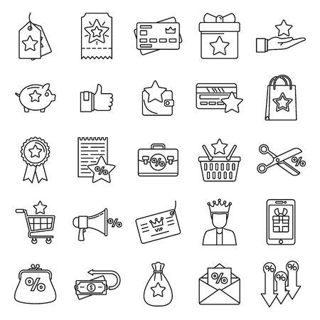 Loyalty program reward icons set. Outline set of loyalty program reward vector icons for web design isolated on white background