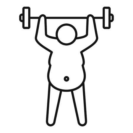 Overweight man dumbbell icon. Outline overweight man dumbbell vector icon for web design isolated on white background
