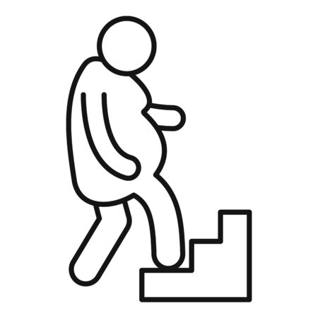 Overweight man up stairs icon. Outline overweight man up stairs vector icon for web design isolated on white background