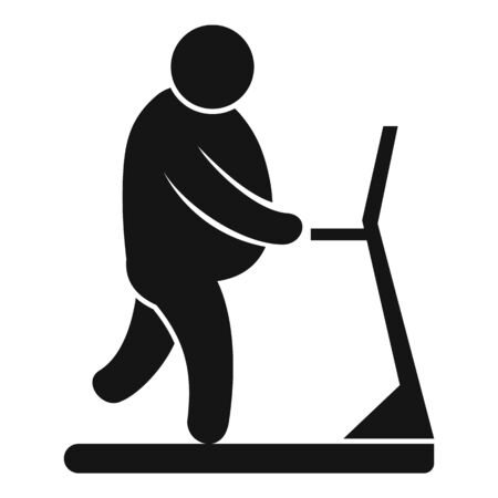 Overweight man on treadmill icon. Simple illustration of overweight man on treadmill vector icon for web design isolated on white background