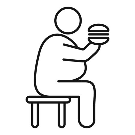 Overweight man eat burger icon. Outline overweight man eat burger vector icon for web design isolated on white background Stock Illustratie