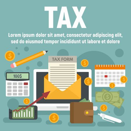 Tax concept banner. Flat illustration of tax vector concept banner for web design