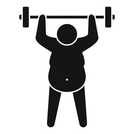 Overweight man dumbbell icon. Simple illustration of overweight man dumbbell vector icon for web design isolated on white background Illustration