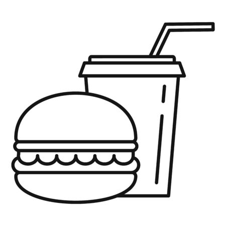Burger soda cup icon. Outline burger soda cup vector icon for web design isolated on white background