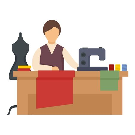 Sewing woman working icon. Flat illustration of sewing woman working vector icon for web design Ilustração