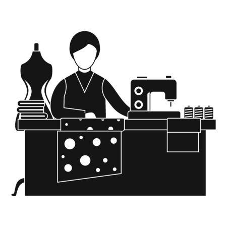 Sewing woman working icon. Simple illustration of sewing woman working vector icon for web design isolated on white background Ilustração