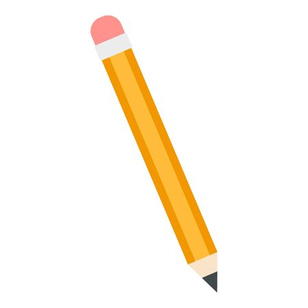 Yellow pencil icon. Flat illustration of yellow pencil vector icon for web design Stock Illustratie