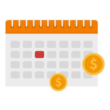 Tax calendar icon. Flat illustration of tax calendar vector icon for web design 일러스트