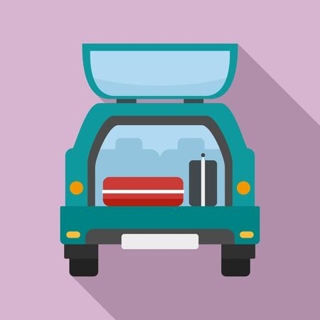 Travel bags in car icon. Flat illustration of travel bags in car vector icon for web design