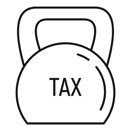 Kettlebell tax icon, outline style Vectores