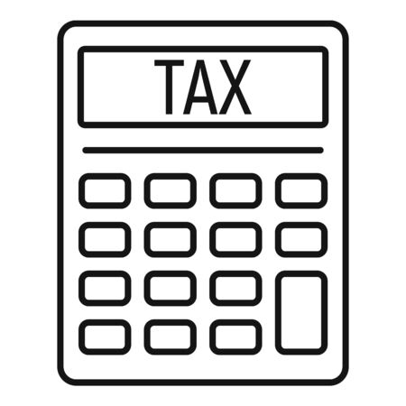 Tax calculator icon, outline style