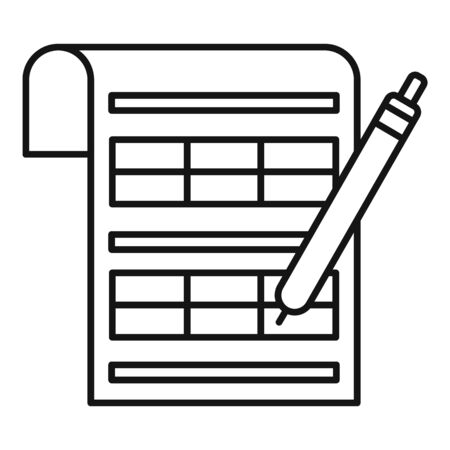 Tax signature icon, outline style