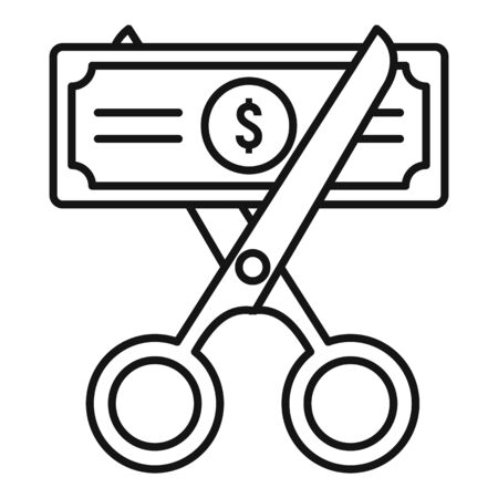 Cut money tax icon, outline style