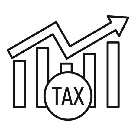 Tax finance graph icon, outline style 일러스트